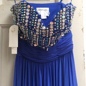 royal blue rhinestone gown NWT